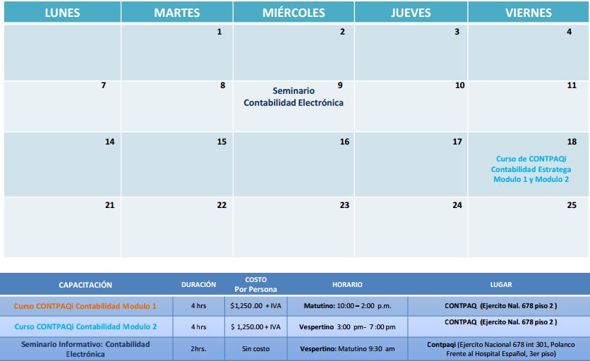 cursos marzo Contabilidad electronica